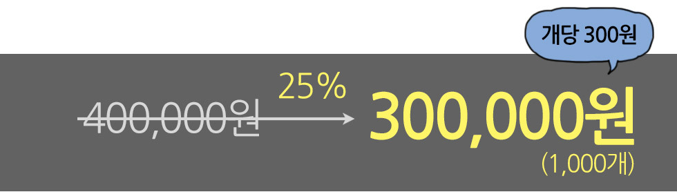 갓블레스유 전도용밴드 가격 29프로 할인가 천 개에 25만원, 개당250원