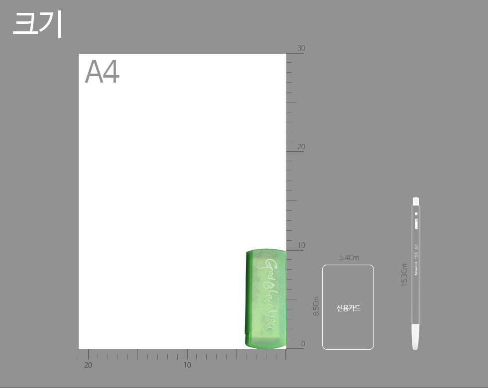 갓블레스유 전도용밴드 카드와의 크기비교