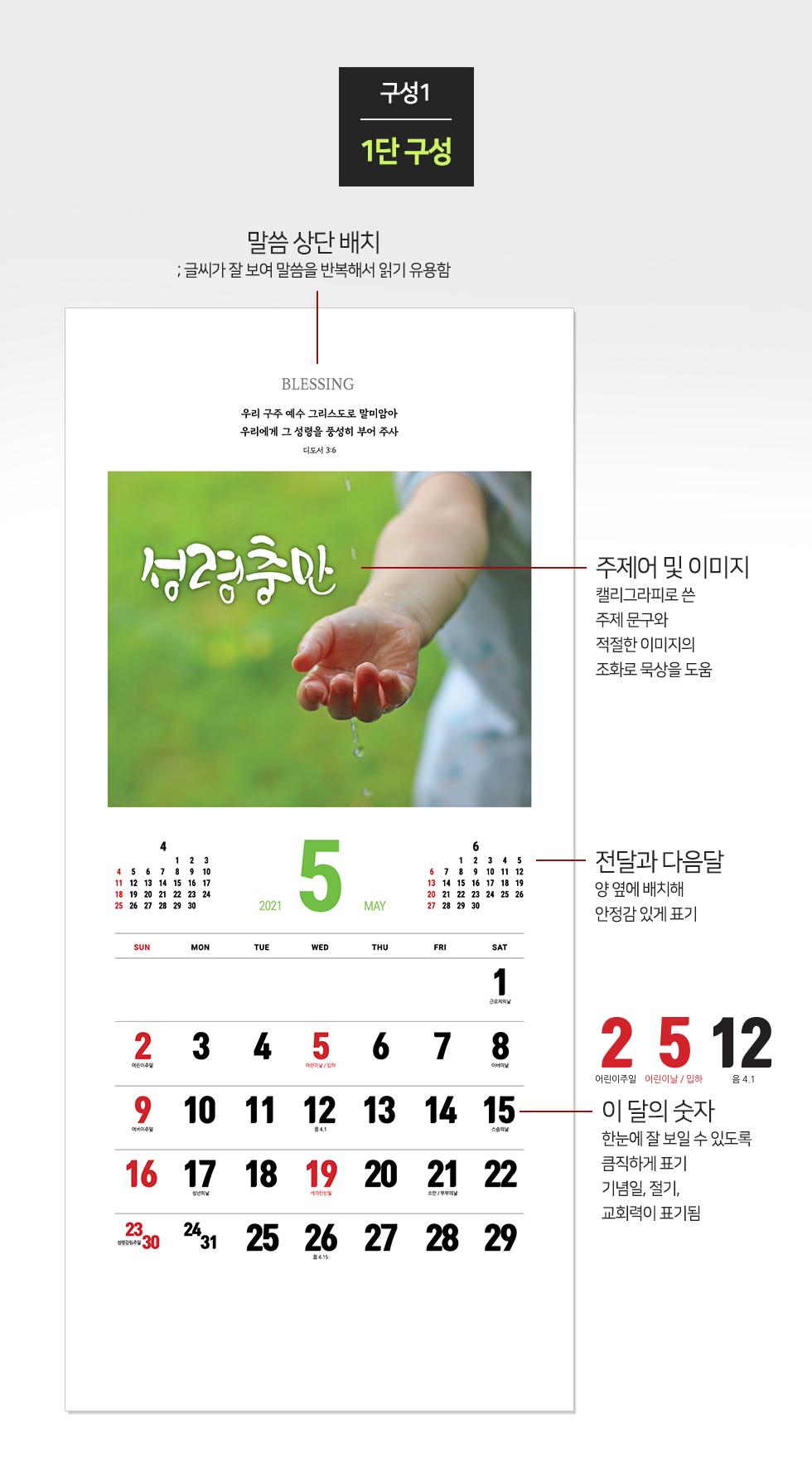 2021년 벽걸이달력 축복 Blessing - 구성1:1단구성