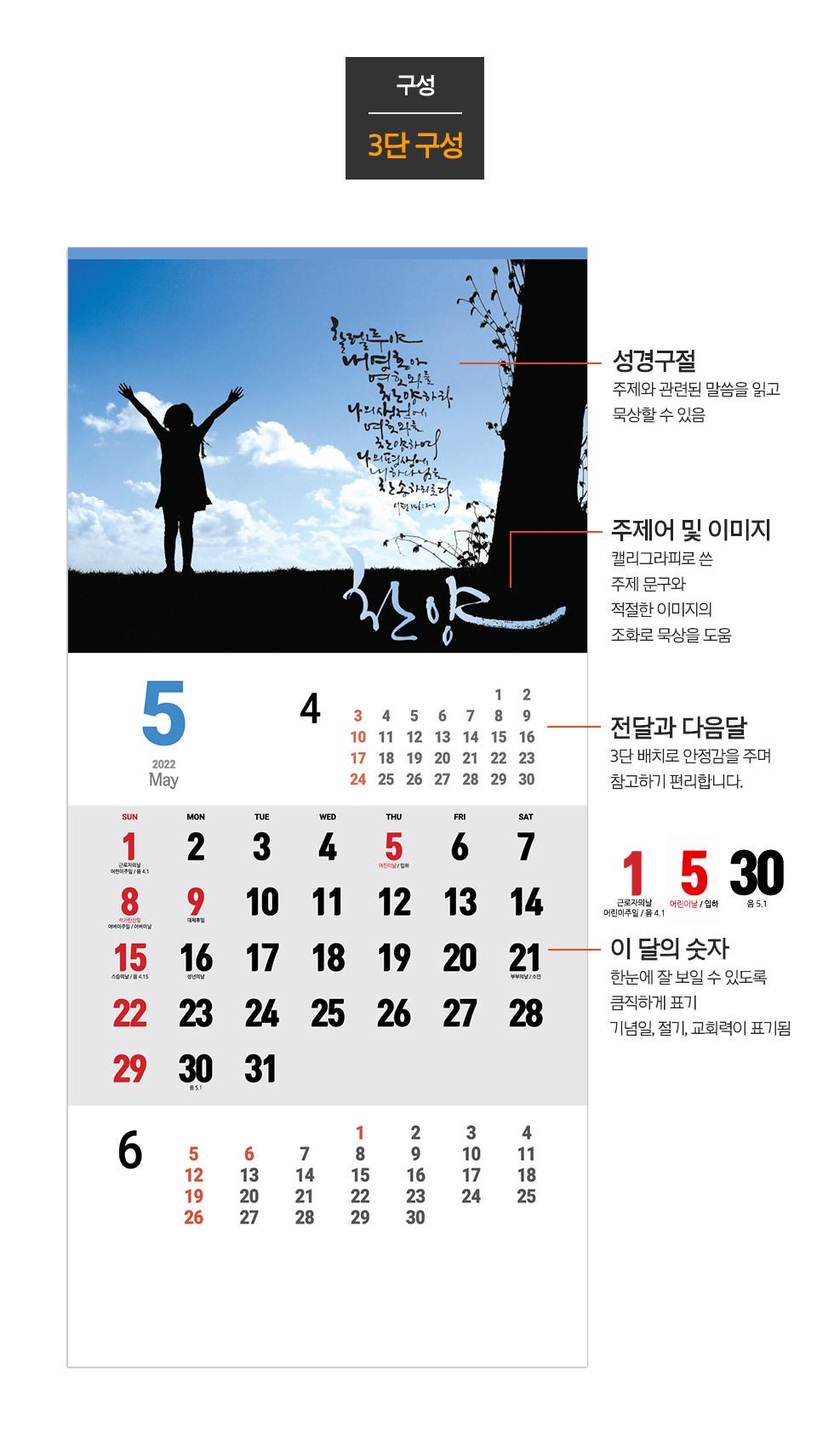 2022년 벽걸이달력 하나님의 사람아 - 3단 달력 특징