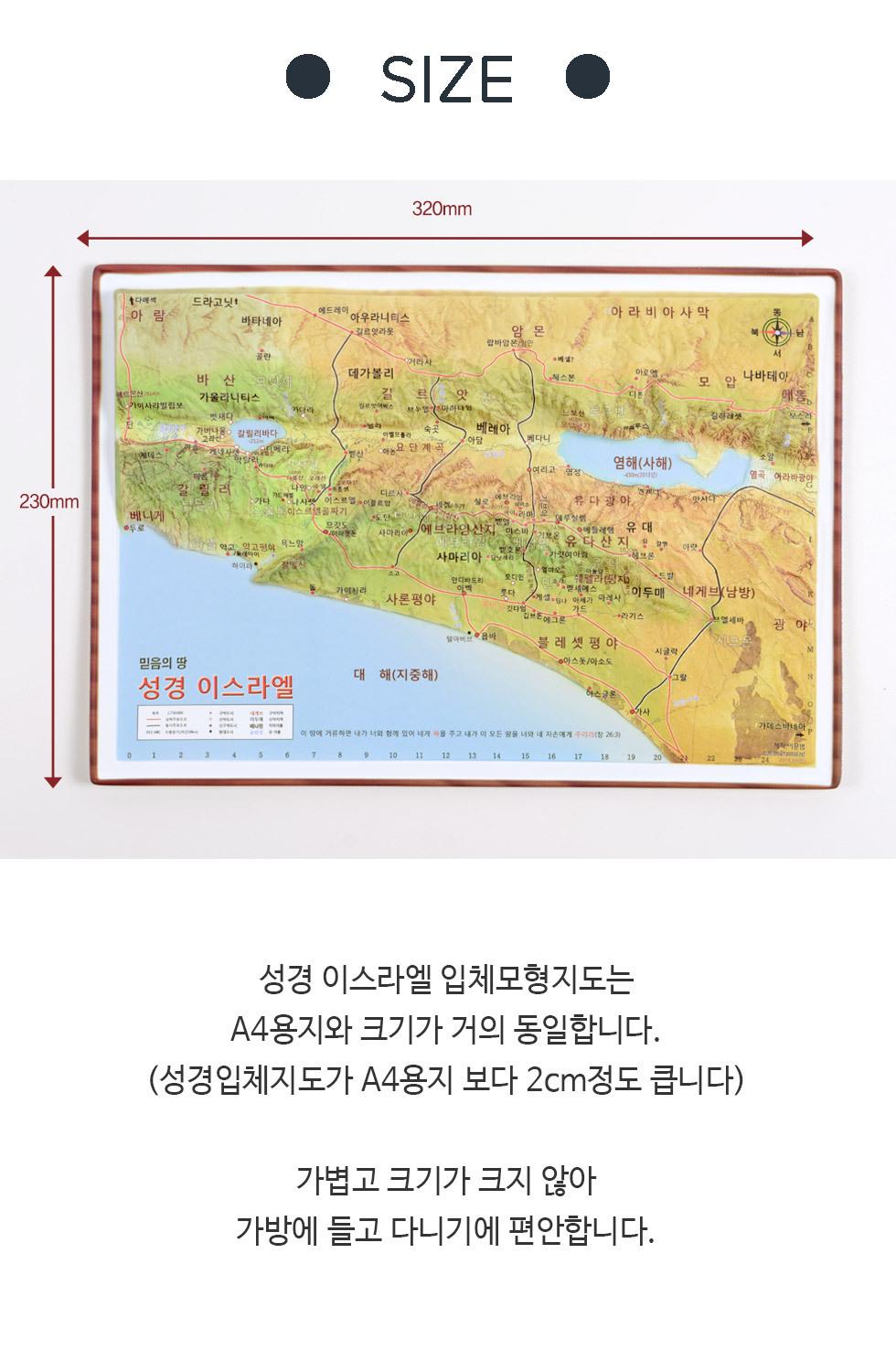 이스라엘 입체지도 - 크기