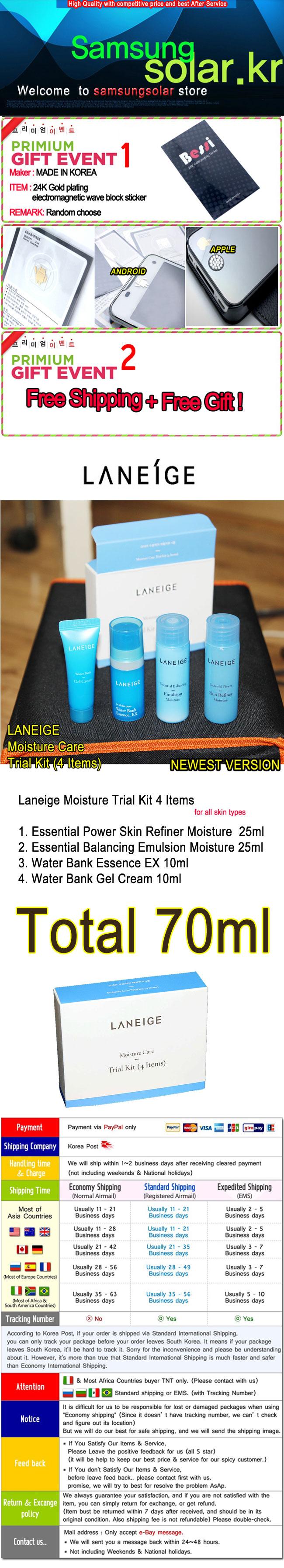 Laneige Moisture Care Trial Kit 4 Items 1set Or 2 Set Basic Skin Original Korea Sample Etude House Water Sleeping Pack Sulwhasoo Bank Essence Tony Moly