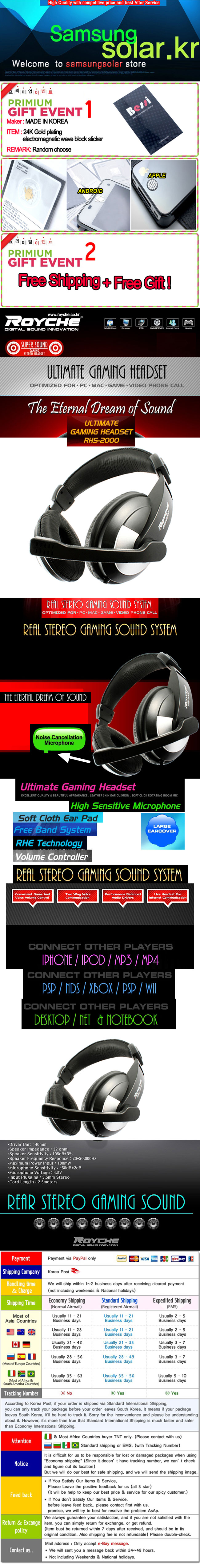 Details about Royche Super Sound Gaming HEADSET HEADPHONES With two way  voice communication