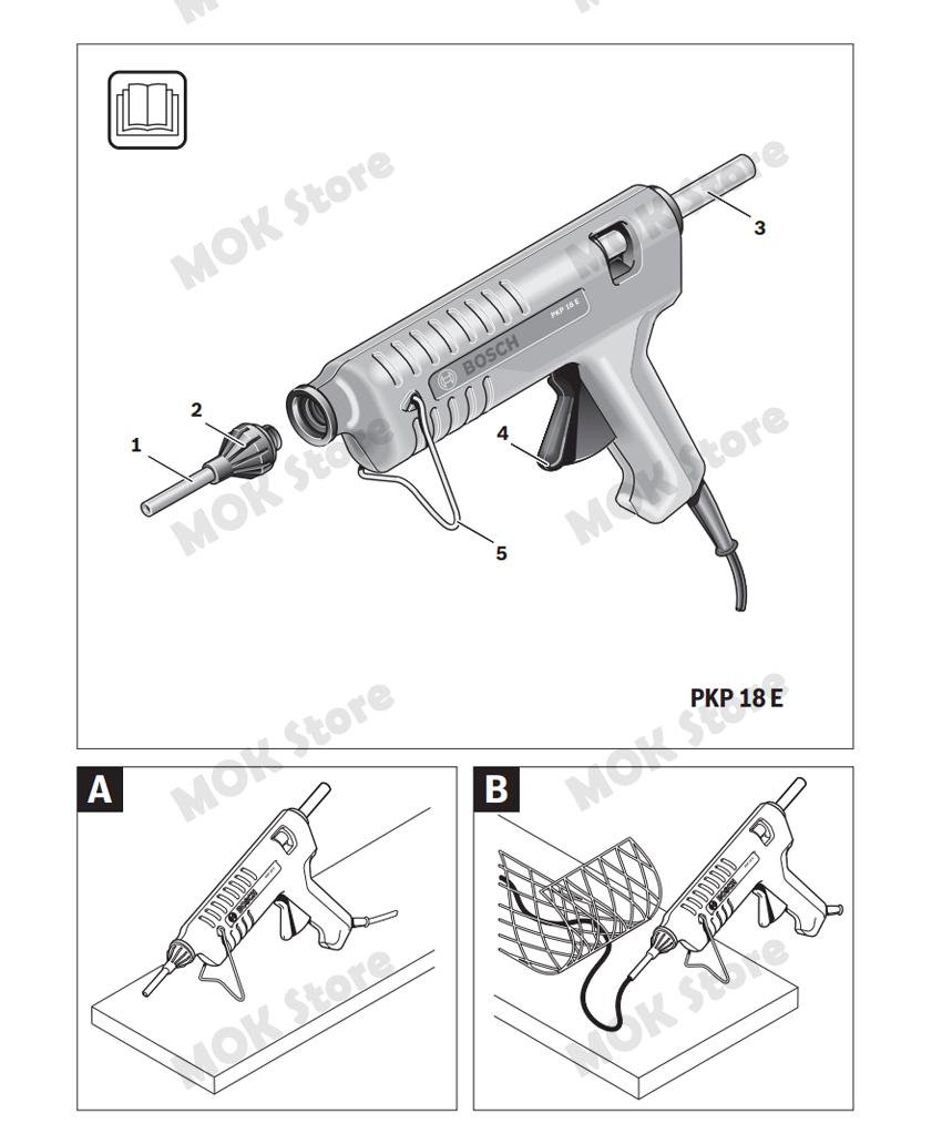 US BUYER Bosch PKP18E Professional Glue Gun 200W Heating 11mm