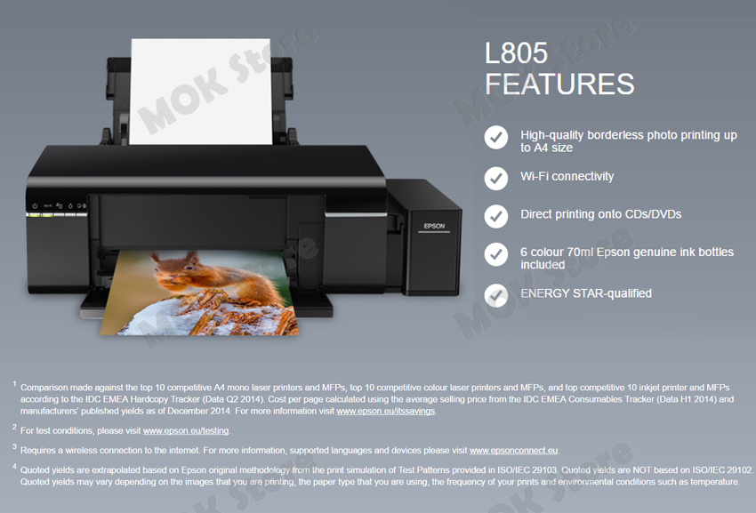 Details about Epson L805 Continous Ink Supply System Inkjet Printer w 70ml  x 6 Ink Bottles