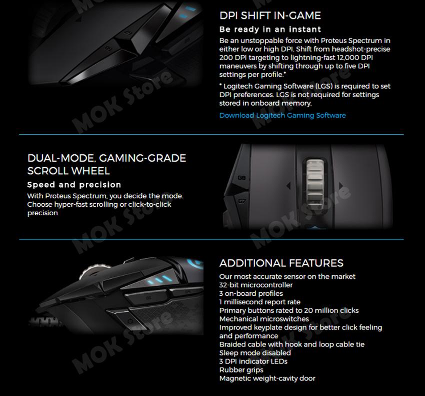 Logitech G502 Proteus Spectrum Rgb Tunable Gaming Mouse Customizable