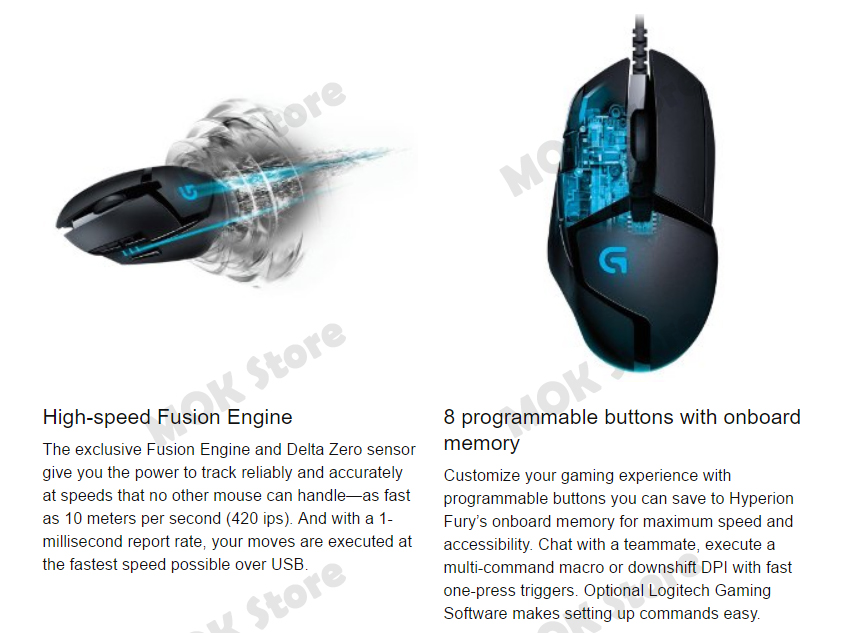 Details about Logitech G402 Hyperion Fury Ultra-Fast FPS Gaming Mouse  High-Speed 8 Buttons