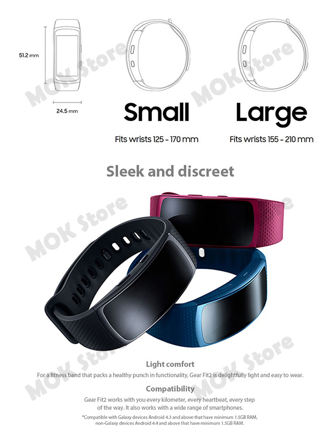 Details about Samsung Gear Fit 2 SM-R360 Small Size Health Fitness Tracker  Wearable Smart Band