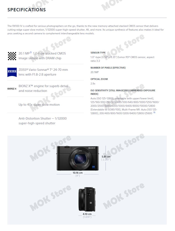 Sony DSC-RX100M4 DSC-RX100 IV Mark4 M4 4K Recording NFC Wi