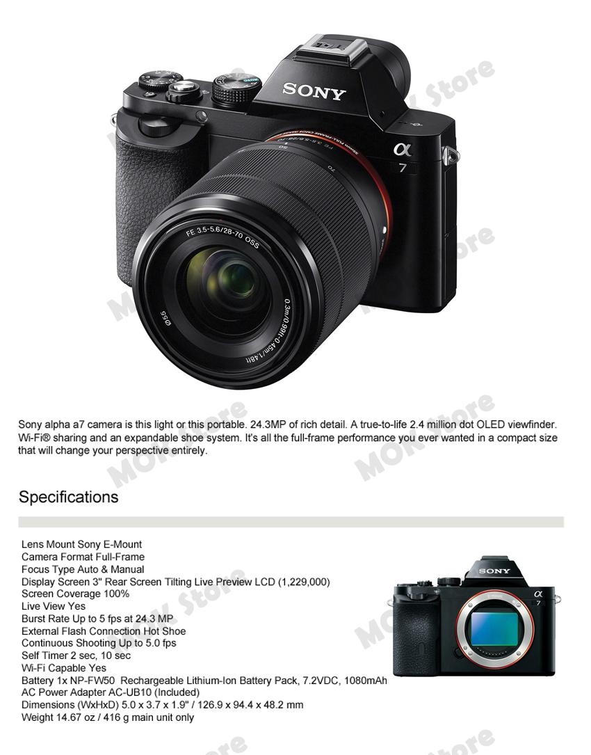 Sony Alpha A7 A7K Mirrorless Digital Camera with FE 28-70mm f/3.5 ...