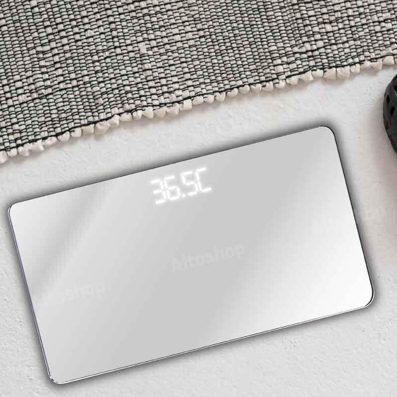 [슬림바디챌린지] 공간차지 없는 에코너-S1 휴대용 LED 미러 체중계 화이트 이미지
