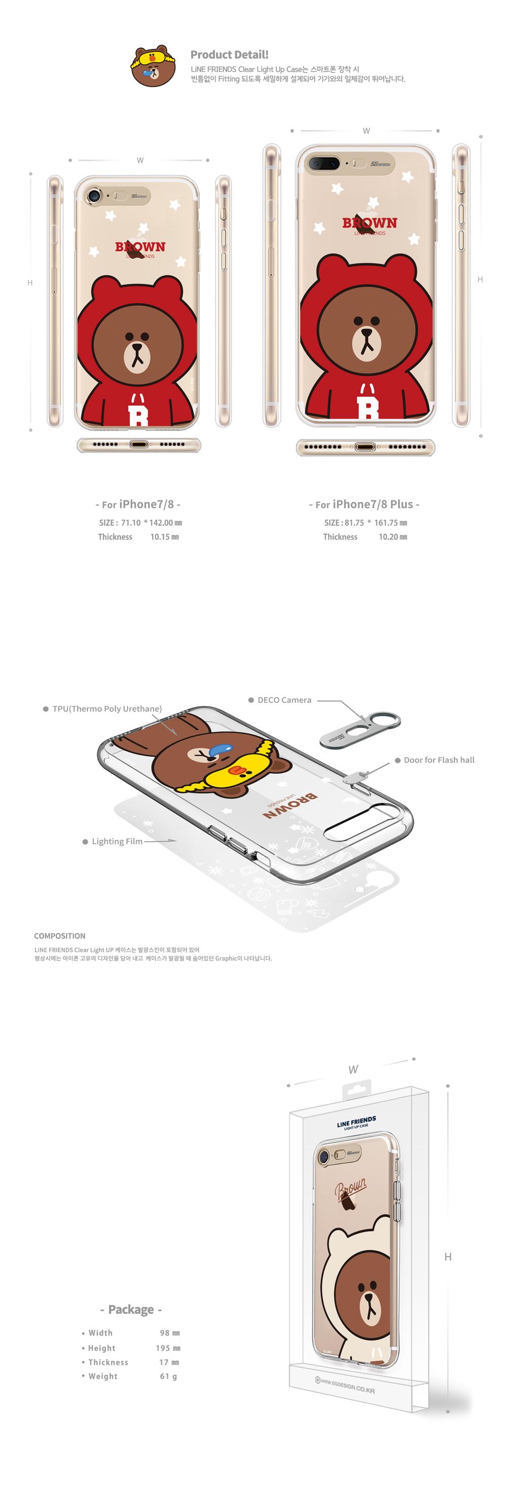 LINE FRIENDS Official iPhone 7/8/7plus/8plus Clear Light Up Case-2018 1st