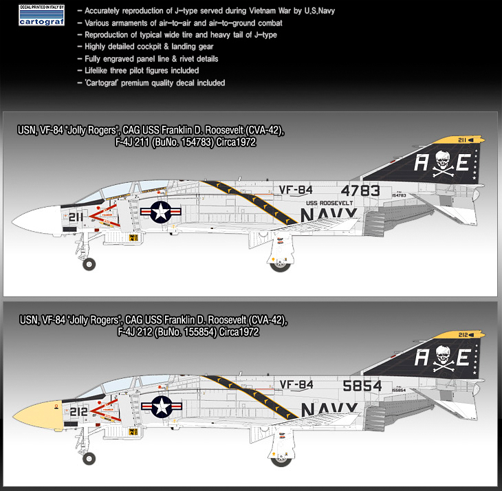 Academy #12305 1//48 Plastic Model Kit USN F-4J VF-84 Jolly Rogers Toy Air Force