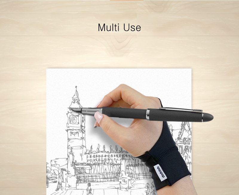 dodolab Artist Design Anti Fouling Two Finger Glove For Pencil Drawing Large