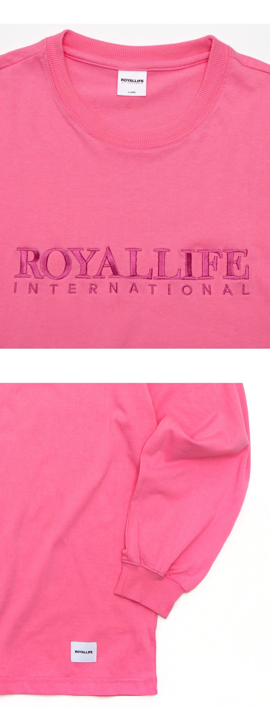 로얄라이프(ROYALLIFE) RLLR702 인터내셔널 자수 로고 롱슬리브 - 핑크